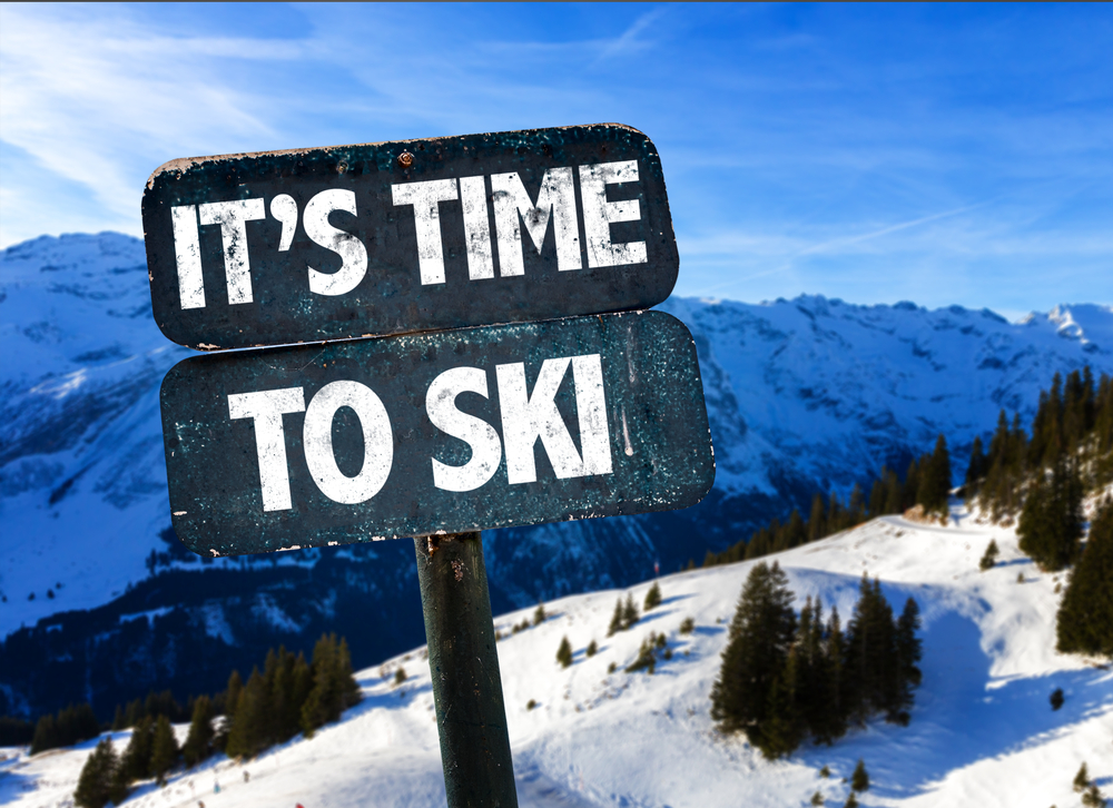 Its Time To Ski sign with sky background-2